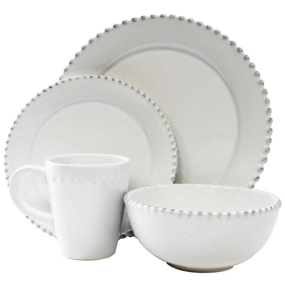 American Atelier 16 Piece White Bianca Bead Round Dinnerware Set