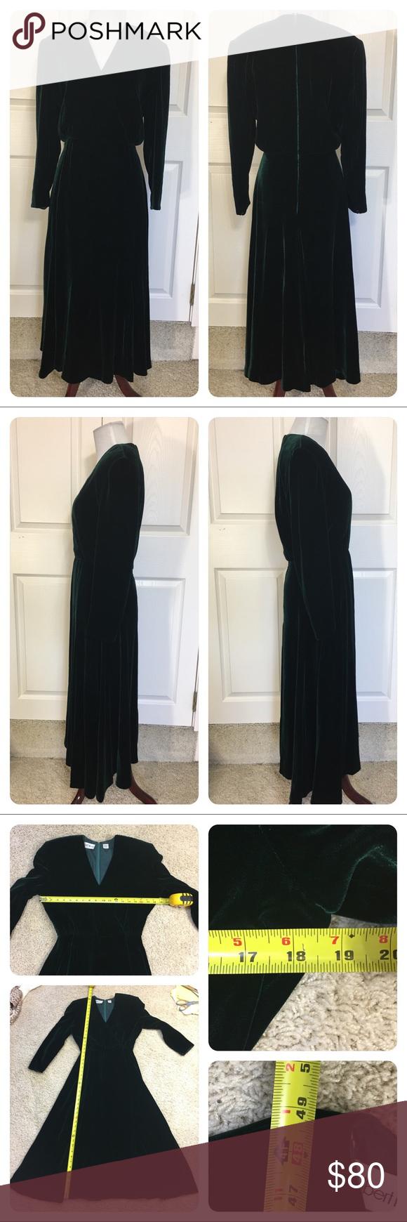 Long dark green dress  Vintage velvet Albert Nipon dress  Vintage velvet Green velvet