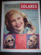 Vintage 1949 Star JOAN CAULFIELD Solarex SUN GLASSES AD