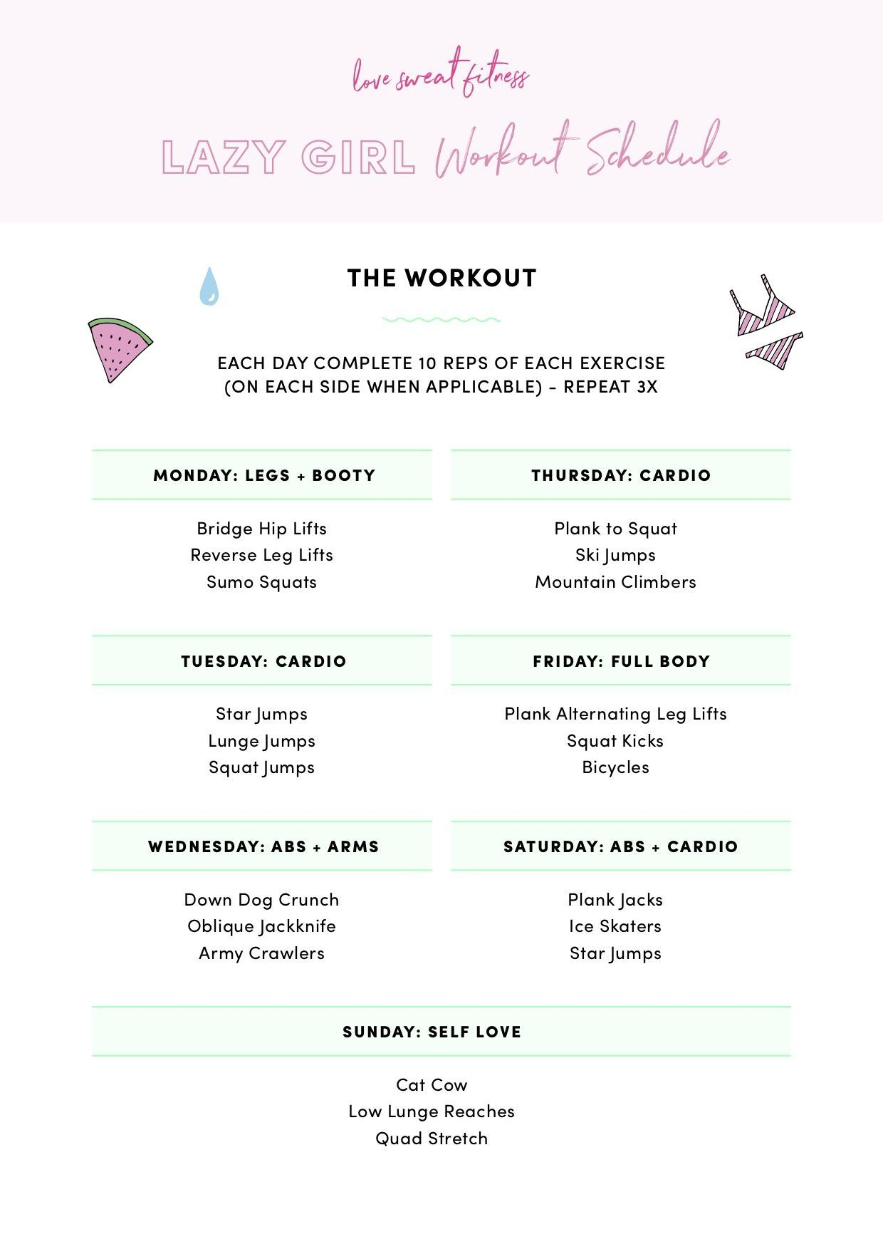 Love Sweat Fitness Lazy Girl Workout Workout Schedule Love Sweat Fitness