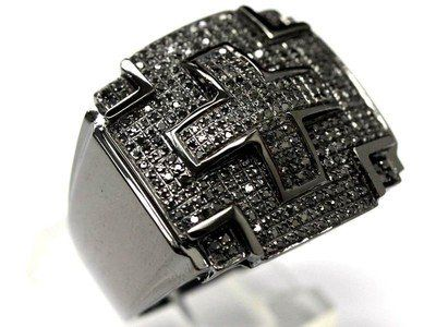 10k Black Gold Diamond Mens Cross Chain Ring Charm New