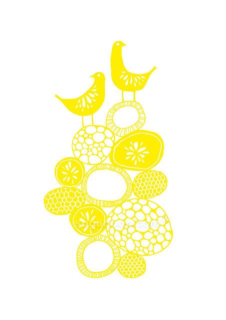 Lemon Yellow Citrus Birds Signed Giclée Art Print by sugarloop, $20.00