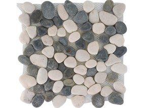 Mosaikmatte Flusskiesel Black White Matt 30 cm x 30 cm