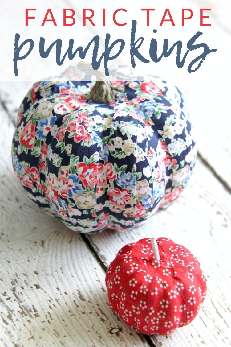 Colorful, No-Carve DIY Fabric Tape Pumpkins - The Crazy Craft Lady #fabrictape