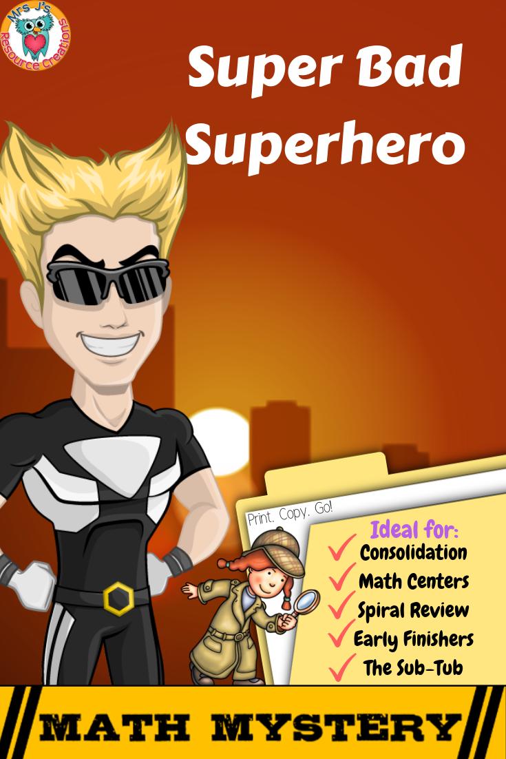 Superhero Free Math Mystery Grades K 6 Bundle Math Activity Distance Learning Math Mystery Free Math Math Methods [ 1102 x 735 Pixel ]