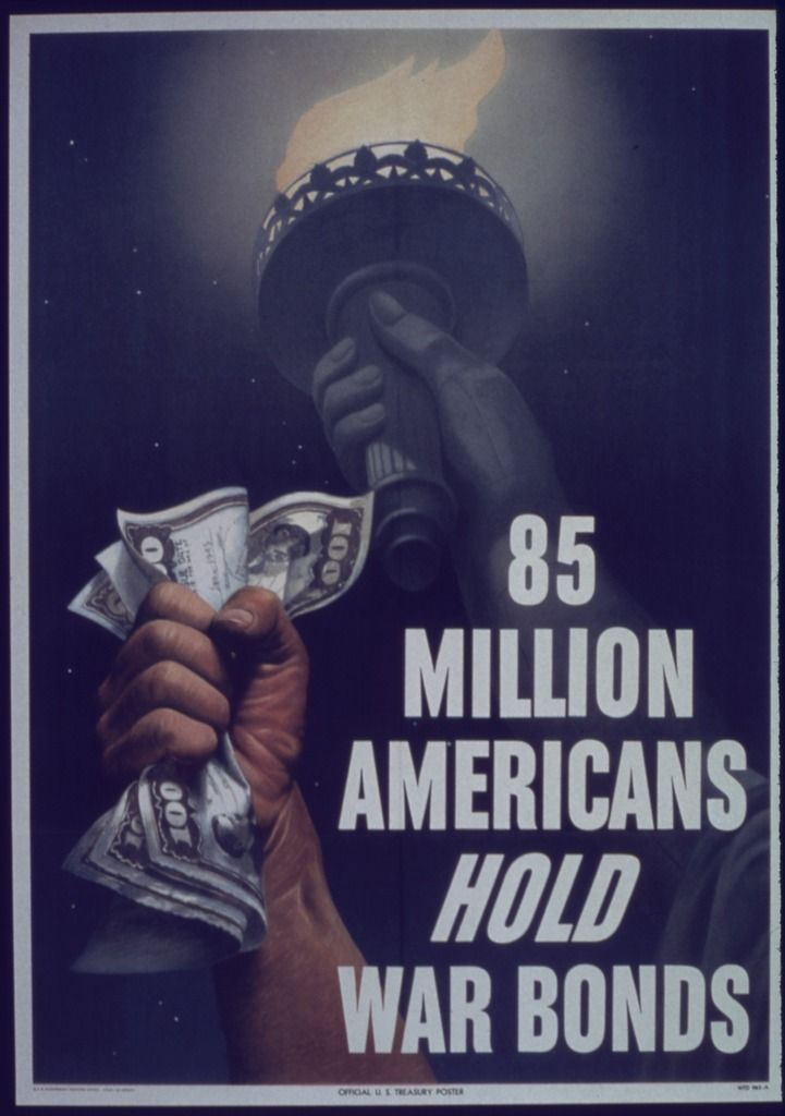 "World War II Poster by Melbourne Brindle Author  Unknown or not provided Record creator  Office for Emergency Management. Office of War Information. Domestic Operations Branch. Bureau of Special Services. (03/09/1943 - 09/15/1945) Title  ""85 Million Americans Hold War Bonds"" Date  1941 - 1945 Current location   National Archives and Records Administration, College Park"