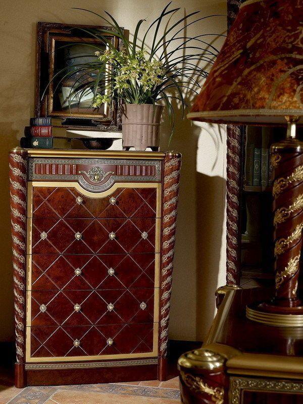 Walnut Burl/Gold 6Drawer Dresser Chest