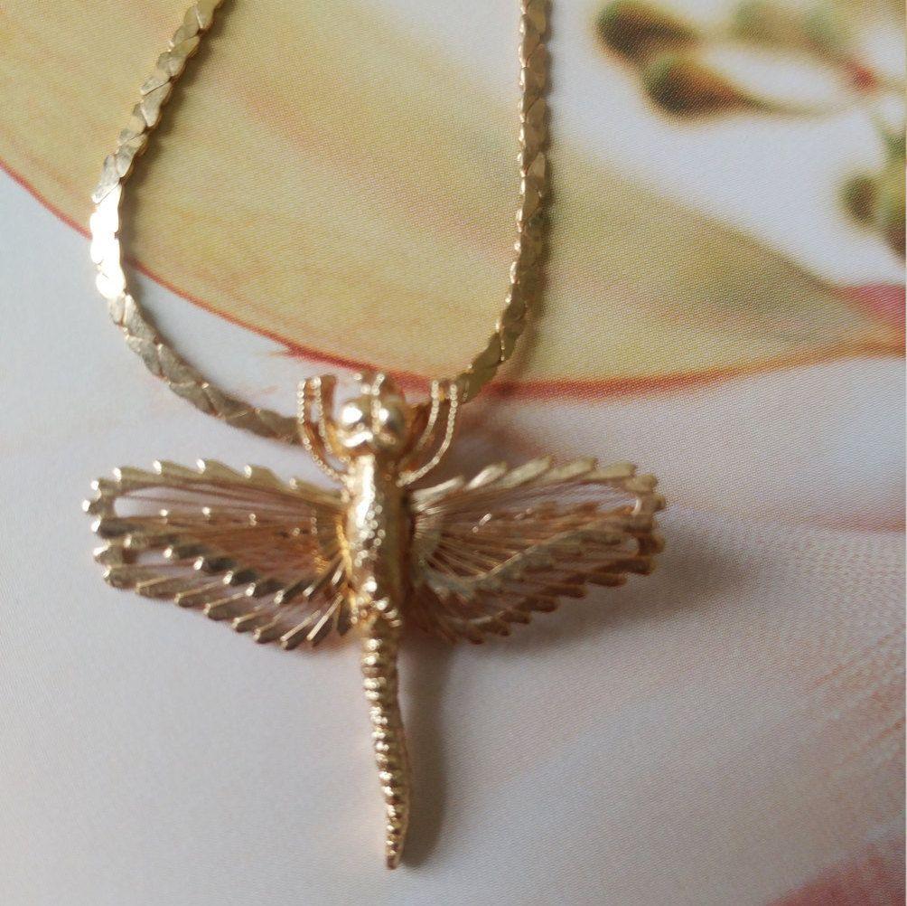 Vintage Monet Dragonfly Necklace Vintage Monet Gold Chain Necklace