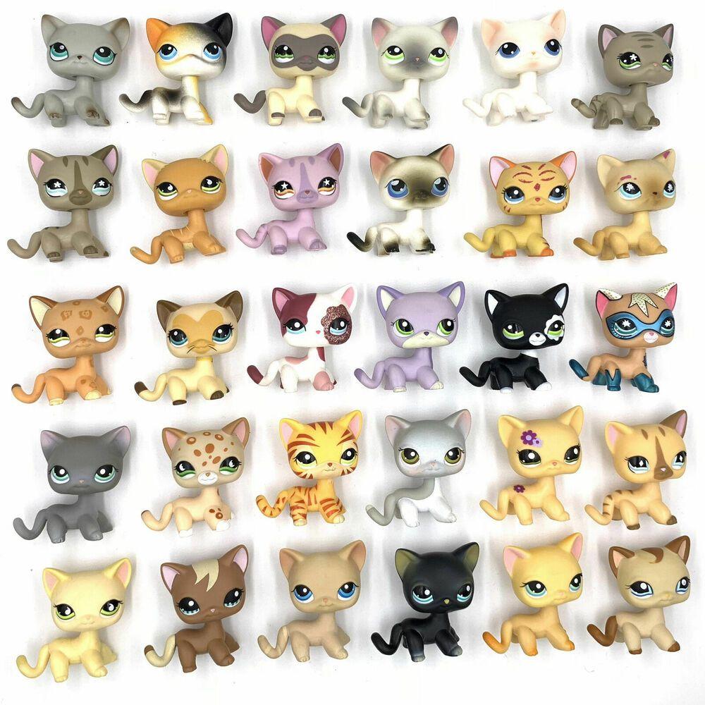 10 Pcs Littlest Pet Shop Lot Cats Lps Short Hair Cat Cute Kitty