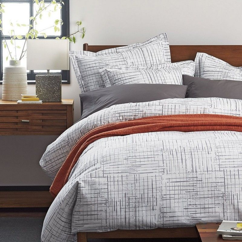 Greenwich Grid Percale Duvet Cover The Company Store