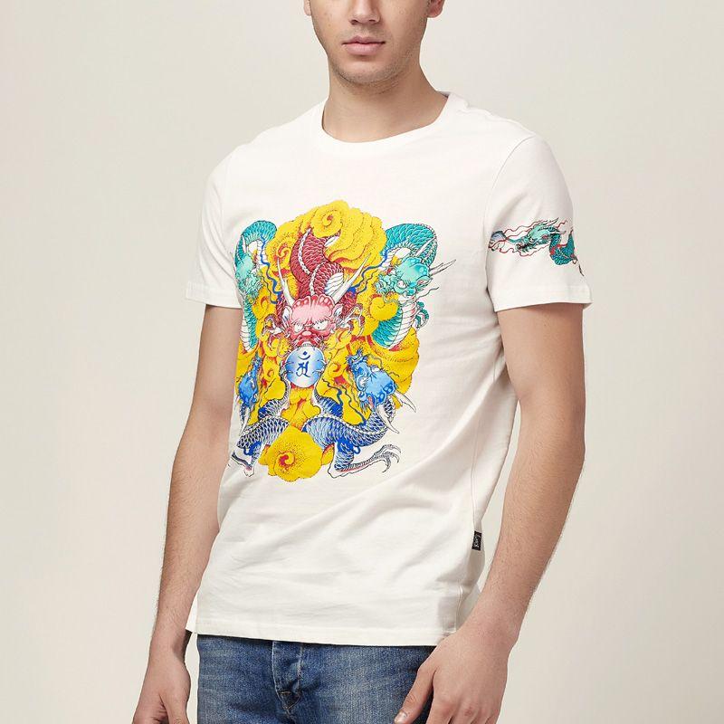 FABILION Summer new o-neck short-sleeve slim t-shirt mens Chinese Embroidery decorative pattern Dragon white men t shirt - http://www.aliexpress.com/item/FABILION-Summer-new-o-neck-short-sleeve-slim-t-shirt-mens-Chinese-Embroidery-decorative-pattern-Dragon-white-men-t-shirt/32338052706.html