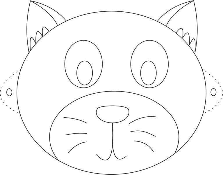 cat mask printable coloring page for kids image patterns