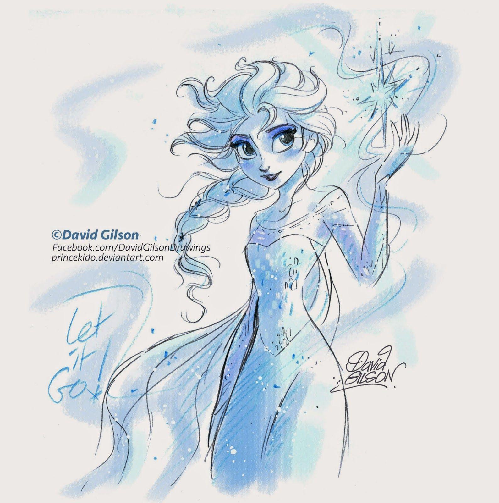 David gilson elsa la reine des neiges de disney - Peinture princesse disney ...