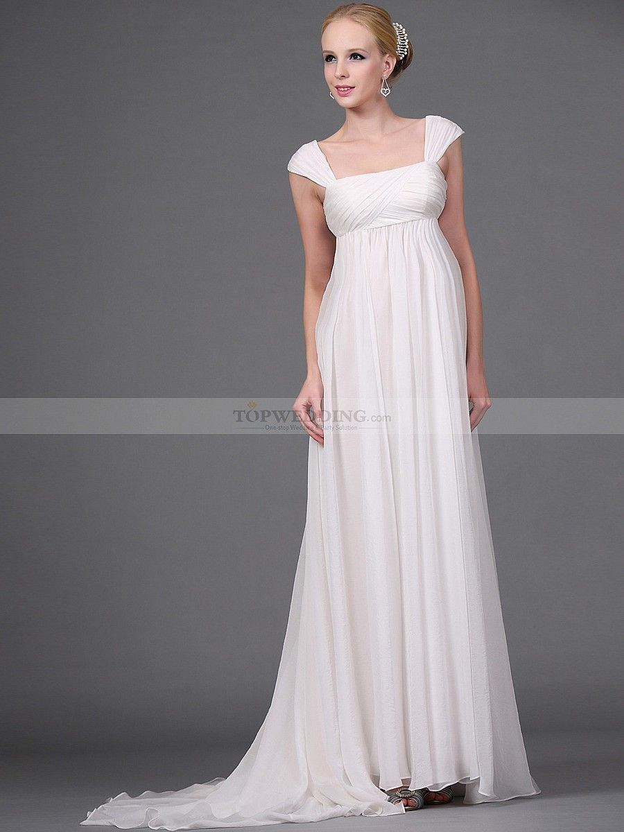 Flowing Wedding Gown Designs Empire Style Cap Sleeved Long Chiffon Dress