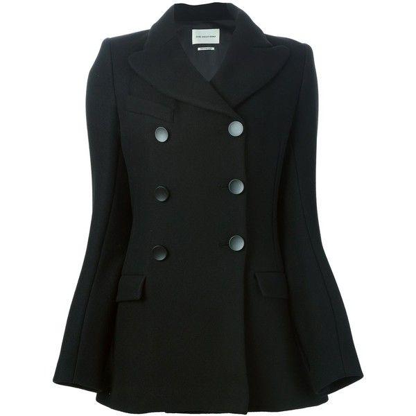 Isabel Marant Étoile 'Cyril' peacoat (€445) ❤ liked on Polyvore featuring outerwear, coats, jackets, black, pea coat, double breasted coat, double-breasted pea coat, long sleeve coat and peacoat coat