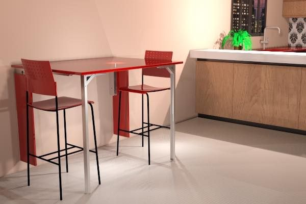 Mesa plegable de pared con patas abatibles para cocina for Mesa plegable diseno