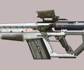 rail gun rifle final render by prolificpen high HD Wallpaper