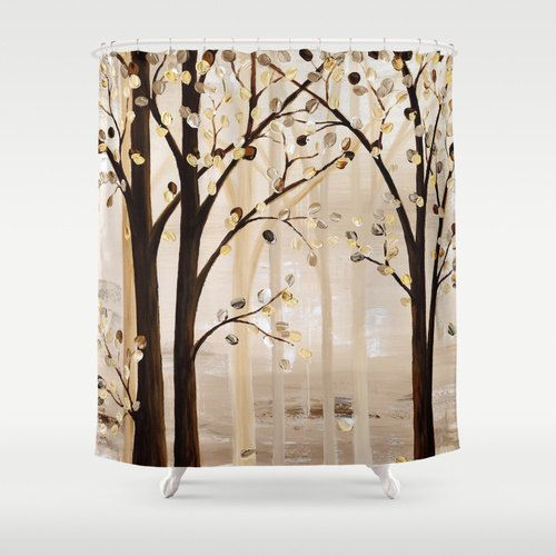 Art Shower Curtain Brown Beige Cream Abstract Tree  Nature Unique Bathroom