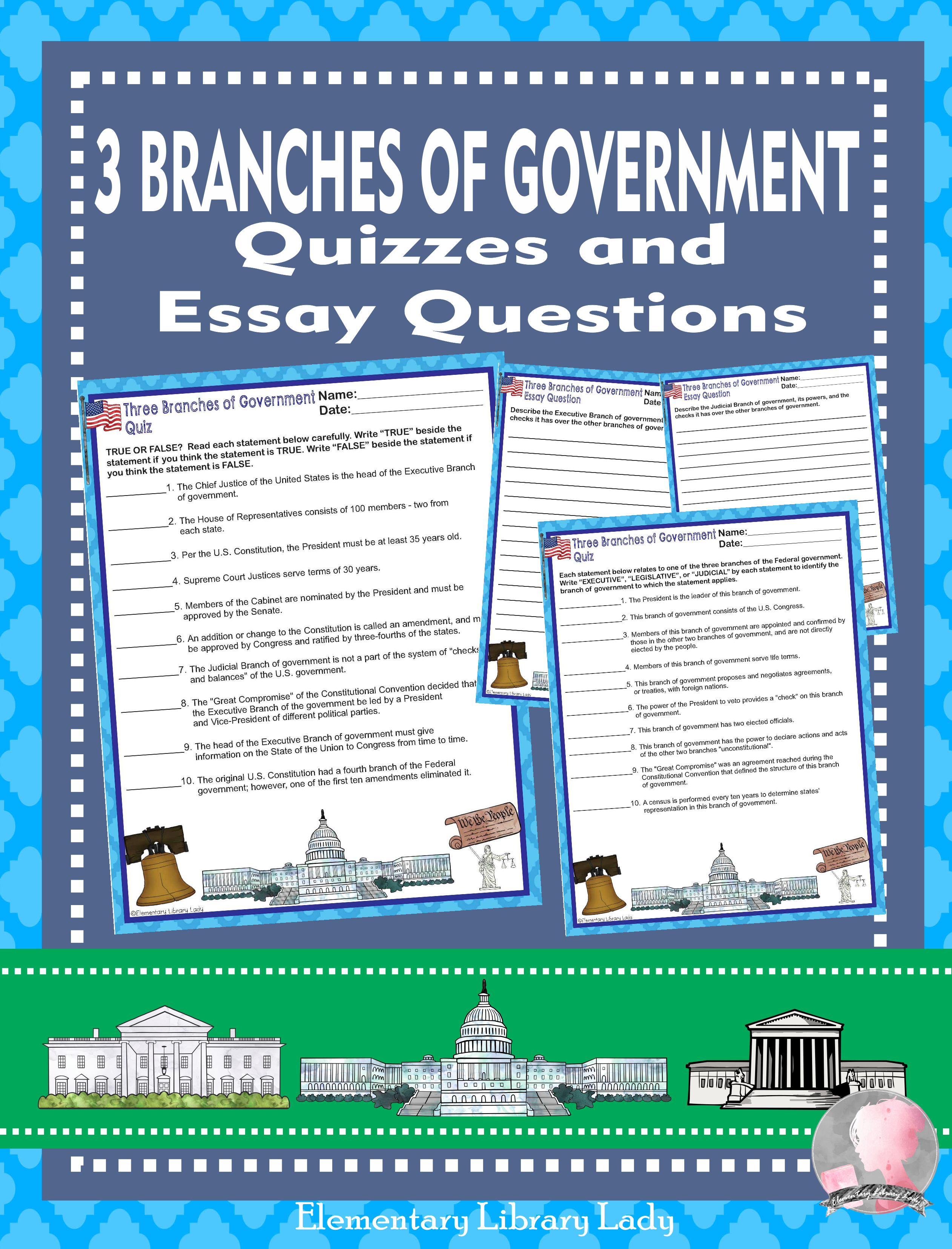 Three 3 Branches Of Government Activities Quizzes And