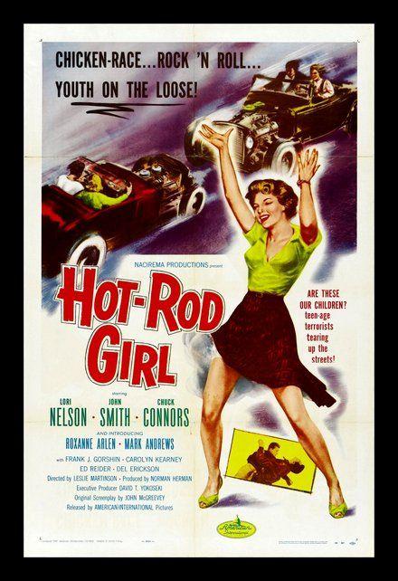 imprimíveis, posters gratuitos imprimíveis clássicos, download gratuito, design gráfico, filmes, gravuras retro, teatro, vintage, posteres vintage, Hot Rod menina, galinha raça, Rock 'n Roll, Youth on the Loose - Vintage Movie Poster