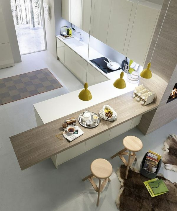 küchendesign kücheninsel pendelleuchten gelb fellteppich - teppich läufer küche