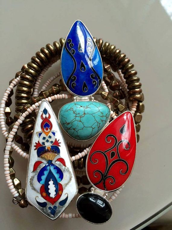Cloisonné enamel and Silver ring Red Majolika by TatiaEnamel