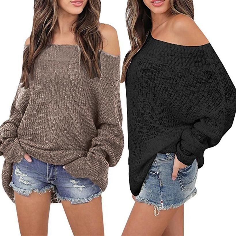 31302ce1a33665 Women s Sweater Off Shoulder Long Sleeve Loose Pullover Fit Knit Sweater  Pullover Top Fashion 2018