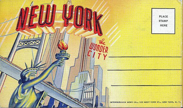 "New York ""The Wonder City "" Graphic Design Cover Vintage Color Postcards 1930s 1940s"