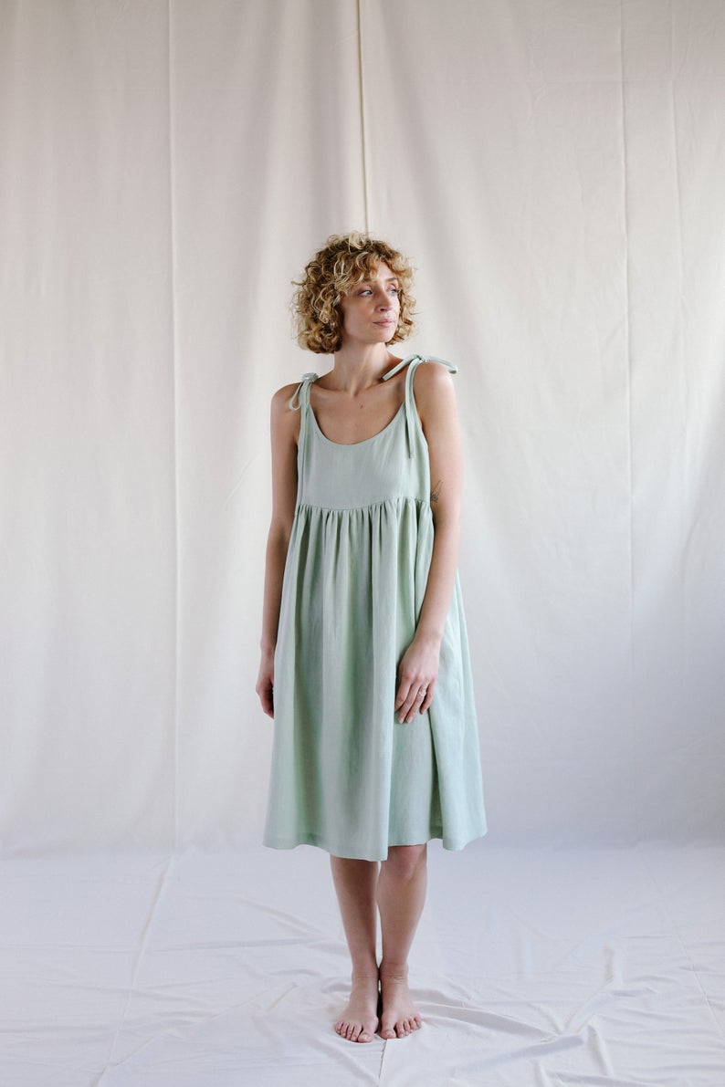 Loose Linen Dress In Sage Green Color Handmade By Offon Clothing Green Linen Dress Linen Dress Sage Green Dress [ 1191 x 794 Pixel ]
