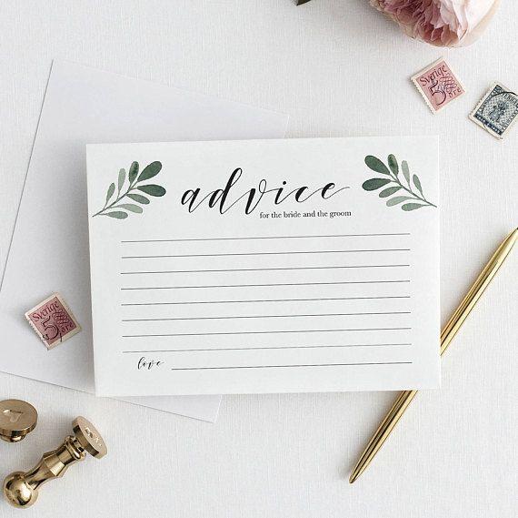 Advice For The Bride And Groom Editable Pdf Printable Wedding