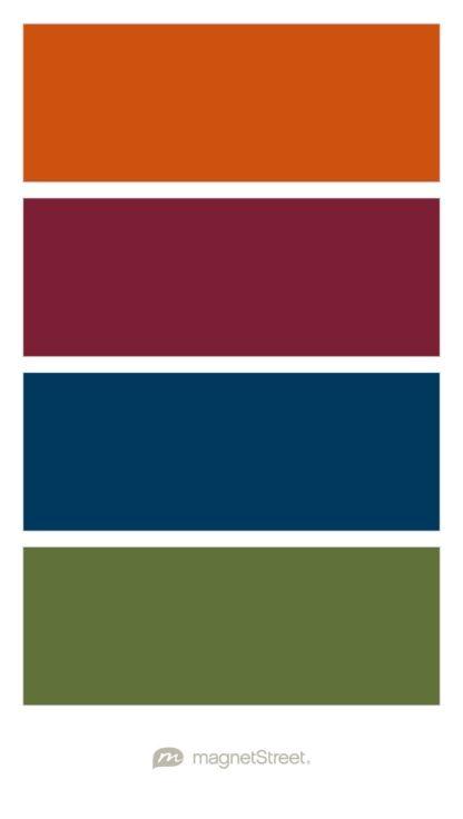 Pumpkin, Custom Purple, Navy, and Olive Wedding Color Palette - custom color palette created at MagnetStreet.com