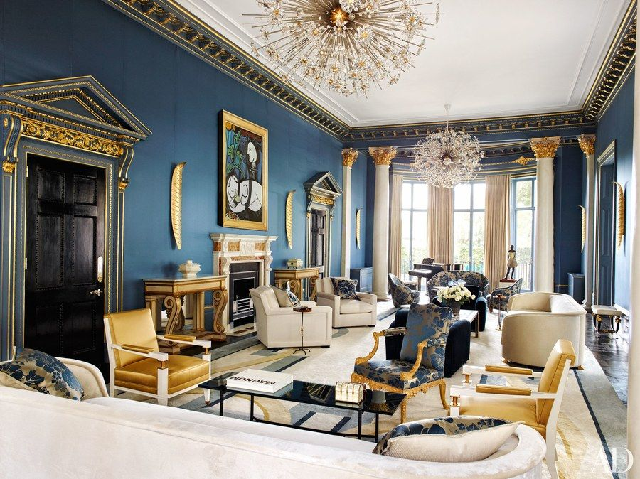Custommade Lobmeyr chandeliers sparkle in the sitting room of an