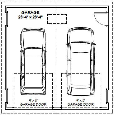24x24 2 car garage 24x24g1 576 sq ft excellent for What size is a standard garage door