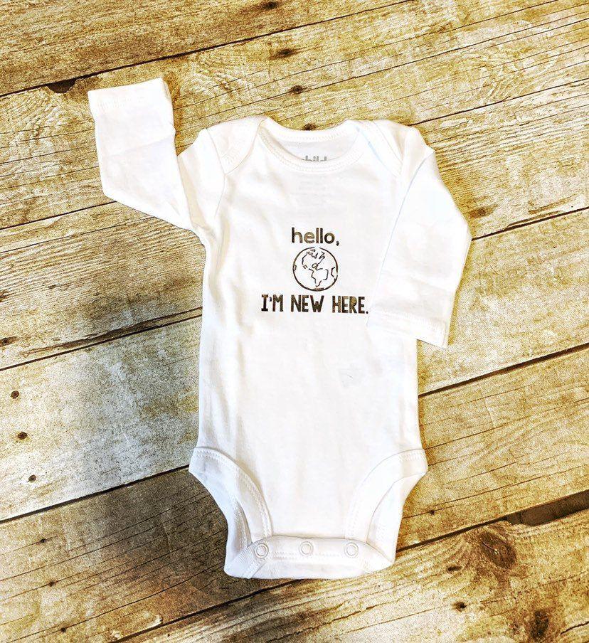 Gender Neutral Hello World I'm New Here Onesie  #baby #etsy #newborn #helloworld #genderneutral #infant