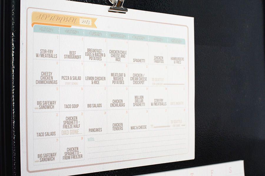 Monthly Meal Calendar  Clean Home    Meals Calendar