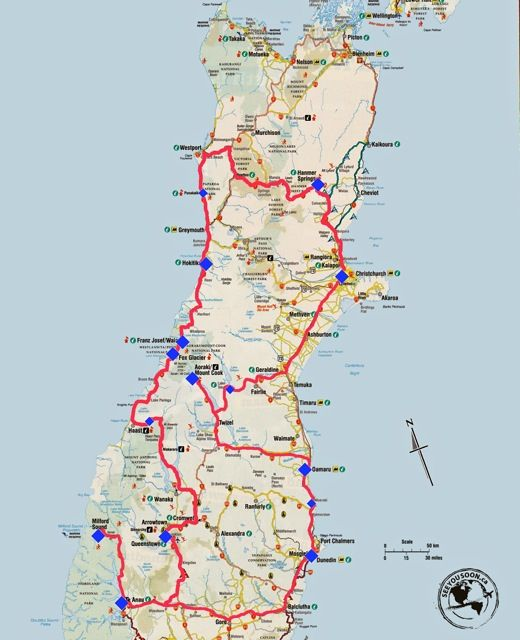 Road Map New Zealand South Island New Zealand South Island Two Week Road Trip Itinerary   Part 2