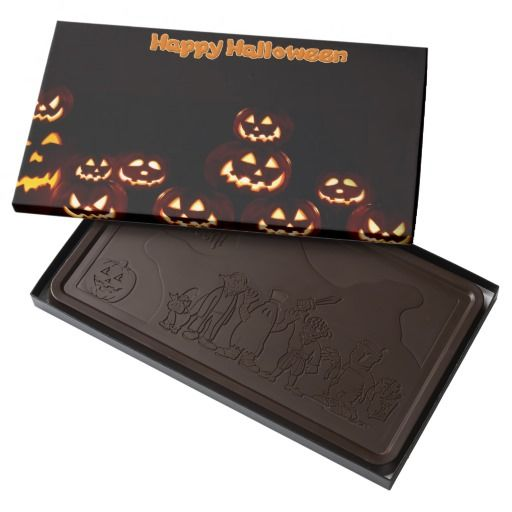 Happy Halloween-jack-o'-lanterns 2 Pound Dark Chocolate Bar Box  #stanrail - $33.95-Give the gift of decadence with a custom chocolate box filled with 100% premium Belgian chocolate. These chocolates are made with top quality cocoa beans and carefully roasted in Belgium with the finest European ingredients for a smooth texture.  #Halloween  #BelgianChocolates  #Pumpkins    #HappyHalloween