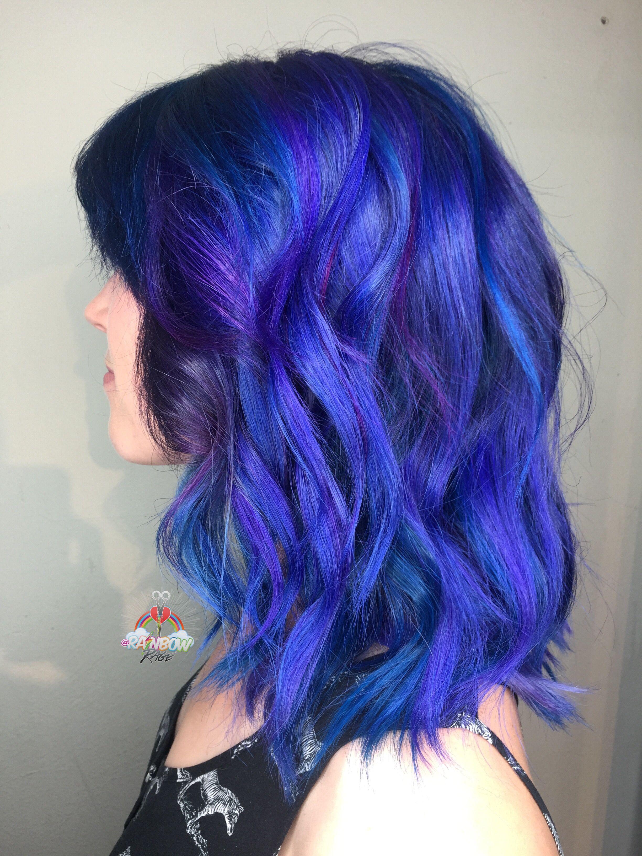 Blue Hair Purple Hair Rainbow Hair Ombre Hair Paint Dark