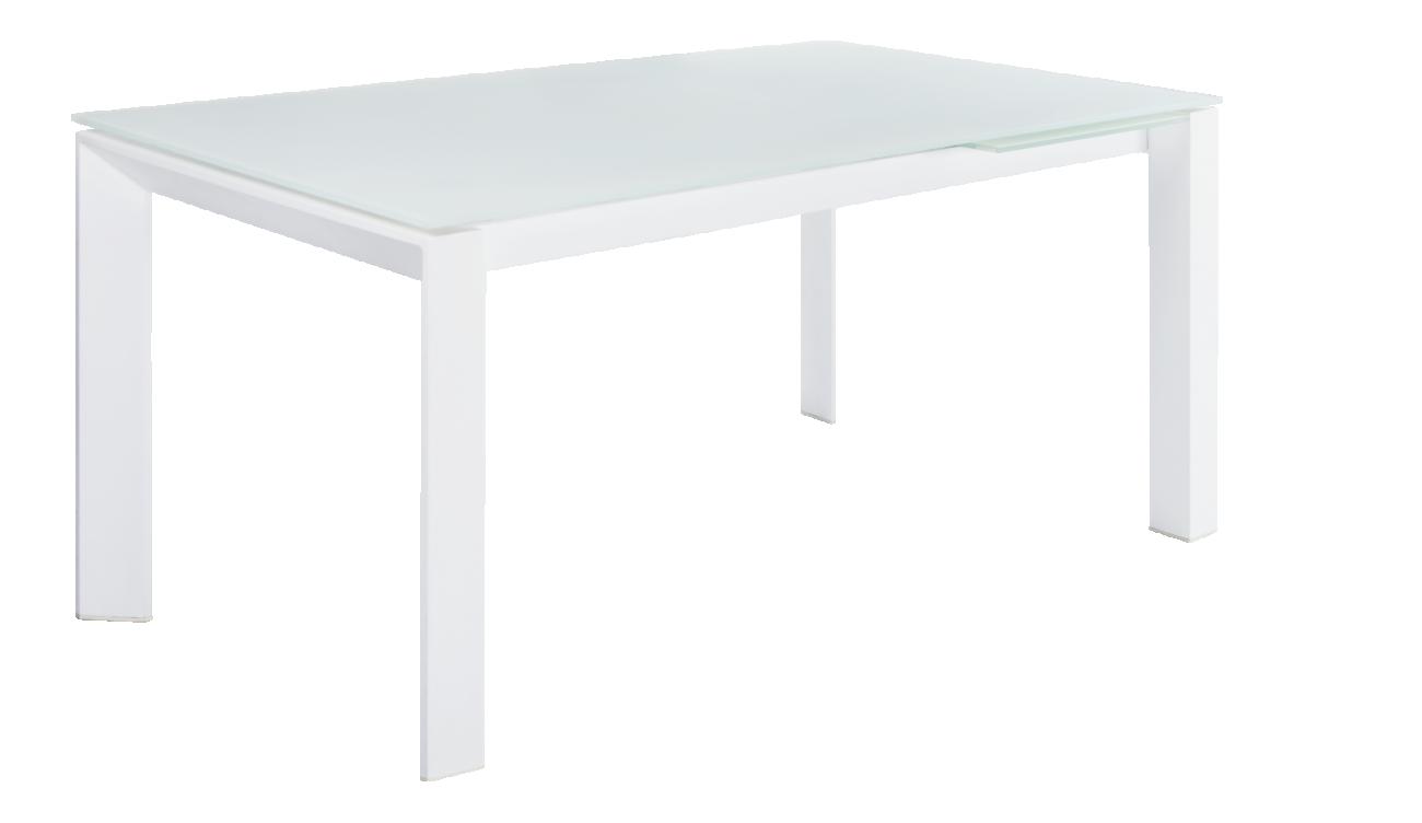 Remo - Table à rallonges blanche en verre - Habitat | NLS_ ...