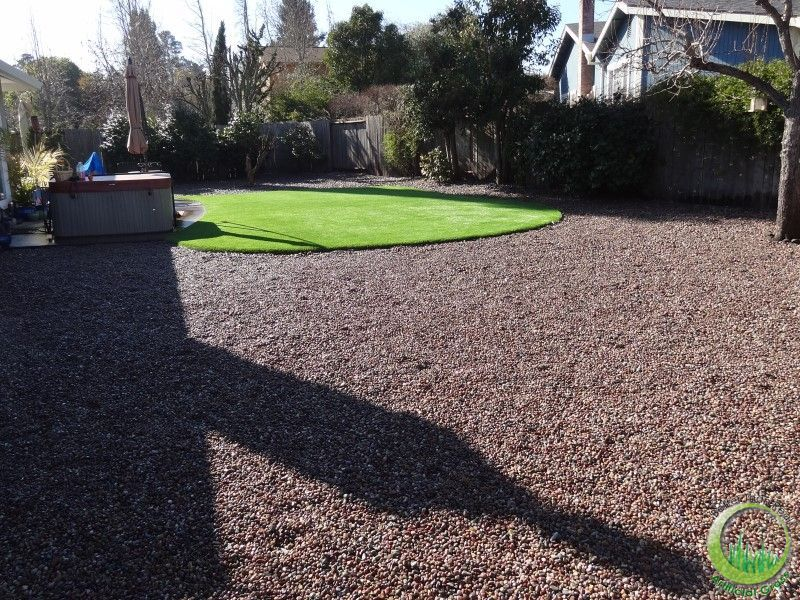Gr Lawn Was Installed Just In Front Of The Concrete Patio It Is A Comfortable Playground Area And Makes Beautiful Contrast With Pea Gravel
