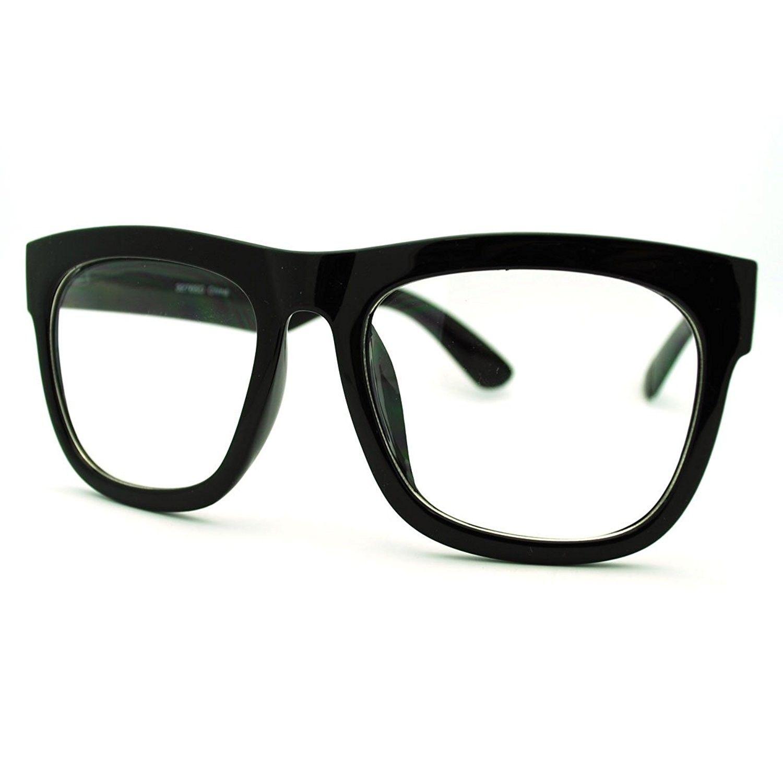 0d420a39f35da Black Oversized Square Glasses Thick Horn Rim Clear Lens Frame ...