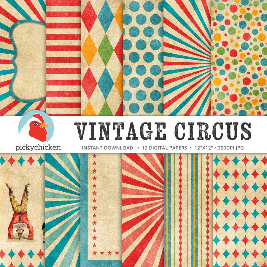 Circus Digital Paper Vintage Circus Party Carnival Etsy Vintage Circus Party Vintage Circus Vintage Circus Theme