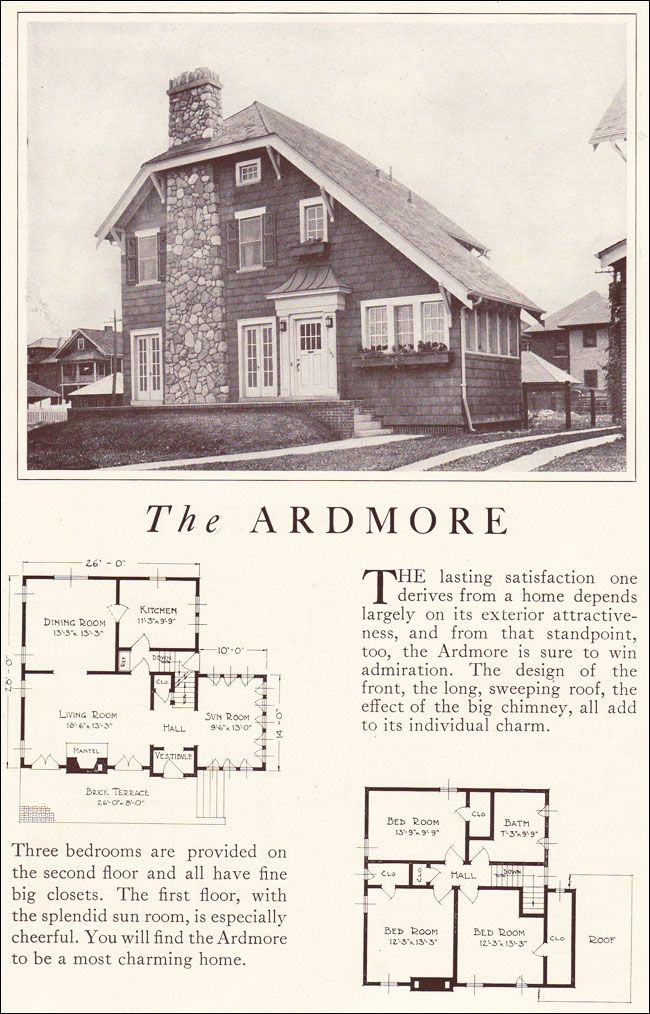 1922 Ardmore Eclectic Two Story Cottage Lewis Manufacturing House Plans With Pictures Little House Plans Home Building Kits