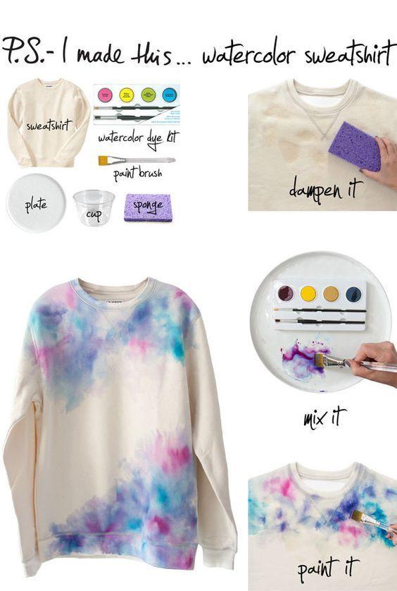 Transforme um moletom num trabalho de arte com um kit de tinta aquarela. | Os 52 projetos faça-você-mesmo mais fáceis e rápidos de todos os tempos: