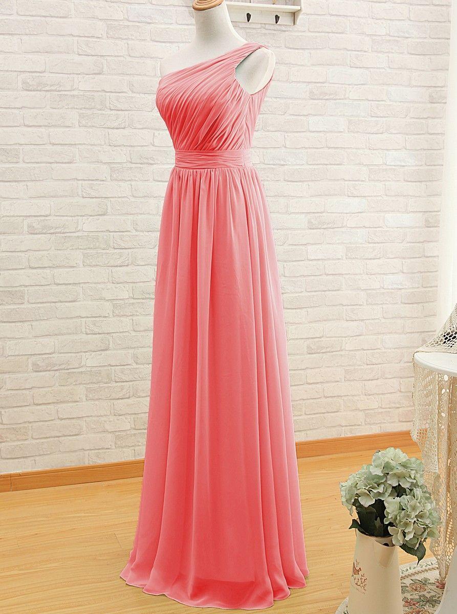 144771e0acc Simple A-line One-shoulder Long Watermelon Bridesmaid Dress/Wedding Party  Dress