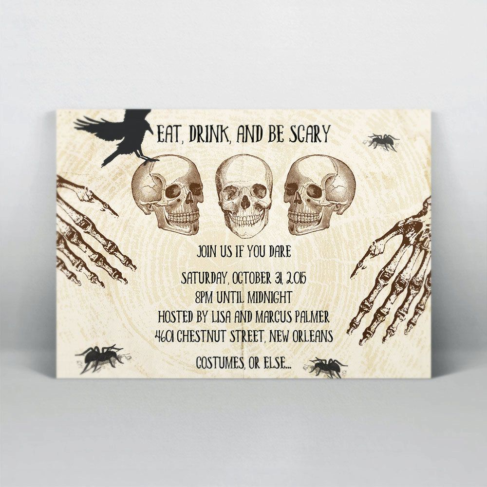 wedding invite email example%0A New to ElanaKleinDesign on Etsy  Printable Halloween Party Invitation  Template  Skeleton Costume Invite