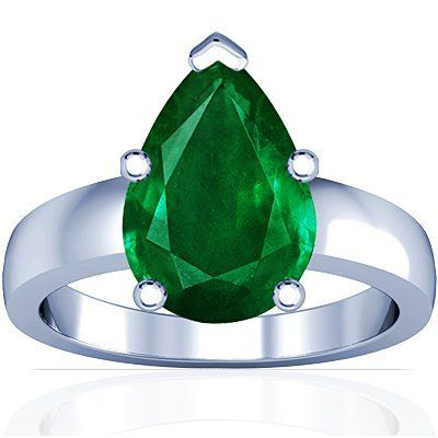 18K White Gold Pear Cut Emerald Solitaire Ring (GIA Certificate)