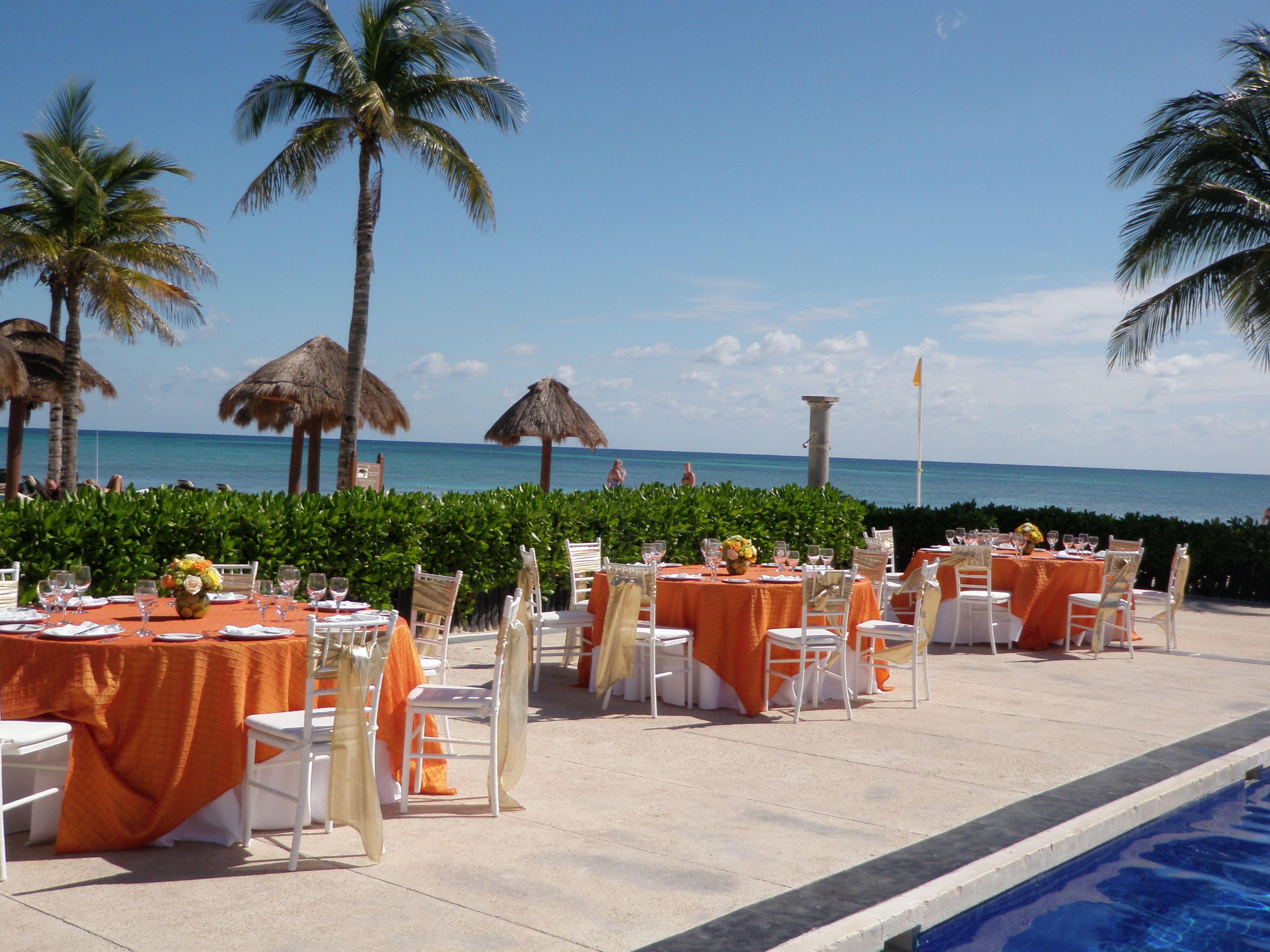 all inclusive beach wedding destinations%0A Dreams Tulum Resort in Riviera Maya  Mexico  Example of pool area wedding  reception set