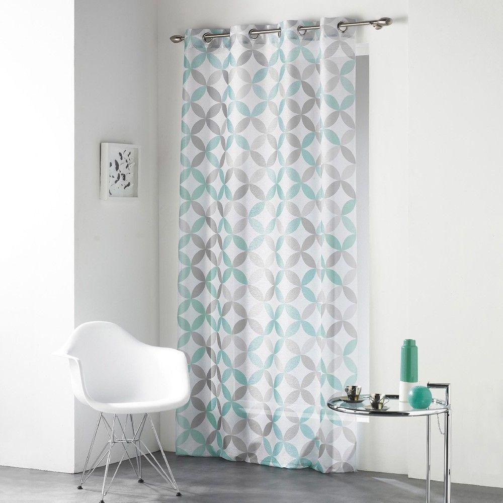 voilage a oeillets gris motif pois bleu et vert rideaux pinterest pois bleus voilages et. Black Bedroom Furniture Sets. Home Design Ideas