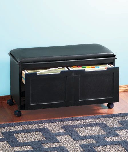 Cushioned File Benches Desk Organization Diy Filing Cabinet Black Cushions